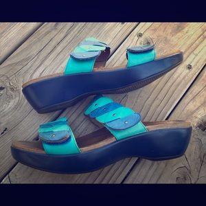 SOLD Dansko Teal and blue leather slip on sandals